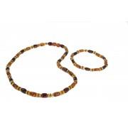 Multicolor Amber Necklace and Bracelet Set ST145