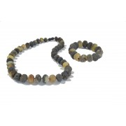 Raw Amber Jewelry Set of Necklace and Bracelet ST146