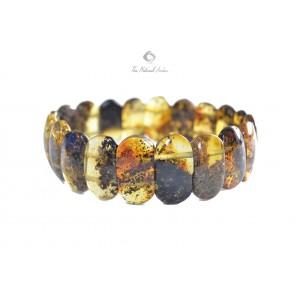 Light Green Amber Bracelet on Elastic Bands W127