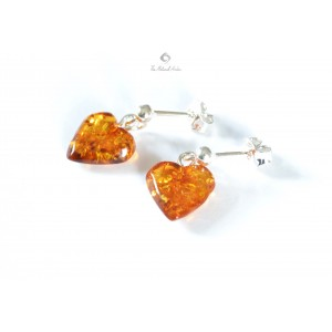 Amber Heart Drop Earrings with Sterling Silver 925 E110