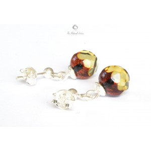 Green Faceted Amber Earrings with Sterling Silver 925 E111