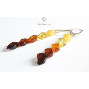 Multicolor Amber Drop Earrings with Sterling Silver 925 E113