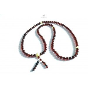 Buddhist 108 Beads Cherry Amber Necklace RB001