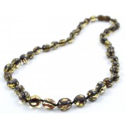 N242 Green Faceted Amber Adult Necklace