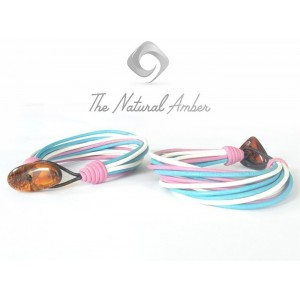 Multicolor Teen Bracelet with Amber Clasp TE118