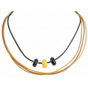 TE101 Teen Necklace with Pandora Amber Beads and Leather Strip