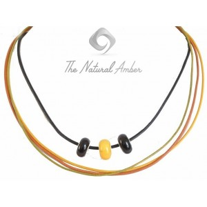 Teen Necklace with Pandora Amber Beads and Leather Strip TE101