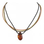 TE110 Amber Pendant Necklace with Leather Strips