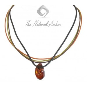 Amber Pendant Necklace with Leather Strips TE110