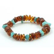 W151 Cognac Amber Bracelet with Turquoise Stones
