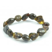 Dark Green Olive (Bean) Bracelet on Elastic Band W126