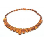 Adult Amber Necklace wit Flat Beads N149