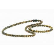 Dark Green Round Amber Beads Necklace and Bracelet Set ST104