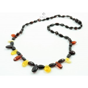 Amber Necklace for Adults with Leaf Beads N122