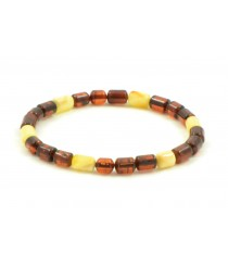 Cognac and Milky Cylinder Amber Adult Bracelet on Elastic Band W105