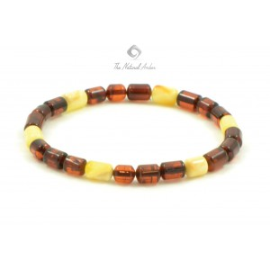 W105 Cognac and Milky Cylinder Amber Adult Bracelet on Elastic Band
