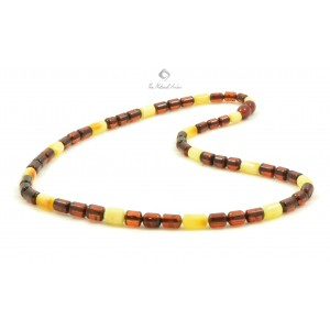 N106 Cognac and Milky Cylinder Amber Adult Necklace