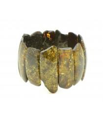 W115 Green Amber Adult Bracelet on Elastic Bands
