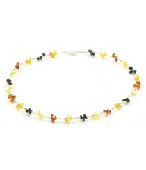 N113 Multicolor Amber Necklace on Flexible Band