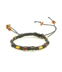 W116 Braided Bracelet with Amber Beads