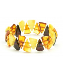 W103 Polished Amber Bracelets on 2 Elastic Bands