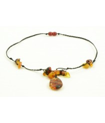 N114 Adult Necklace with Multicolor Amber Stones