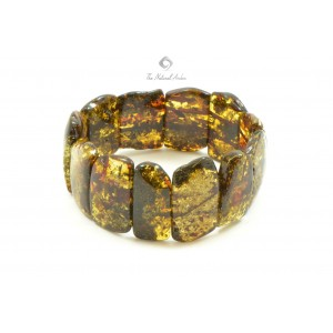 W117 Green Amber Bracelet on Elastic Bands