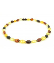 N207 Adult Olive (Bean) Faceted Amber Necklace
