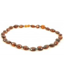 N206 Adult Olive Faceted Amber Necklace