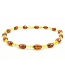 N133 Cognac and Lemon Faceted Amber Adult Necklace