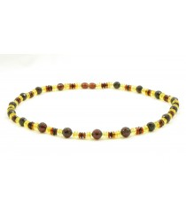 N134 Multicolor Faceted Amber Adult Necklace