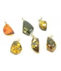 Angular Amber Pendant with Sterling Silver 925 P173
