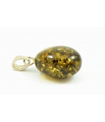 Green Oval Amber Pendant with Sterling Silver 925 P175