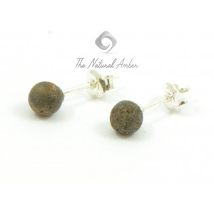E117 Dark Green Raw Amber Stud Earrings with Sterling Silver 925