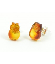 Cognac Owl Amber Stud Earrings with Sterling Silver 925 E119