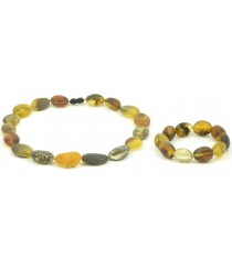 ST144 Raw Green Amber Necklace and Bracelet Set