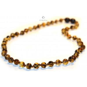 B15-2R Green Round Amber Beads Teething Necklace