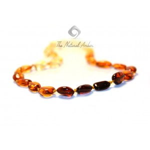 Rainbow Bean (Olive) Amber Adult Necklace A9-3O
