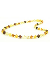 N243 Multicolor Square Amber Beads Necklace for Adults