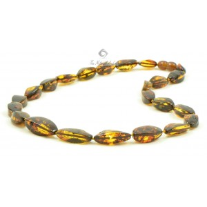 N125 Green Faceted Amber Necklace for Adults