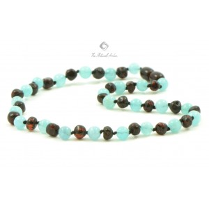 Amber Gemstone Aquamarine Teething Baby Necklace
