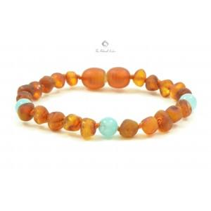S14 Amber and Aquamarine Mix Baby Bracelets / Anklets