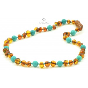B23 Amber and Turquoise Mix Teething Necklaces