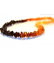 Rainbow Amber Chips Adult Necklace A14-1C