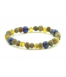 L14 Amber And Lapis Lazuli Mix Bracelets for Adults