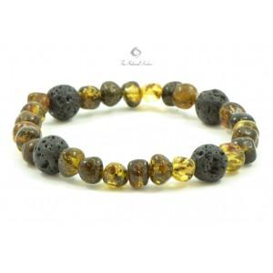 L15 Baltic Amber And Lava Mix Adult Bracelets
