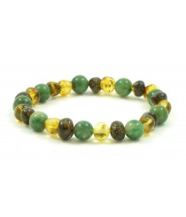 L18 Amber And African Jade Mix Adult Bracelets