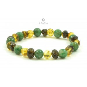 L18-1A Amber And African Jade Mix Adult Bracelets