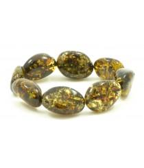 W137 Green Olive Amber Bracelet
