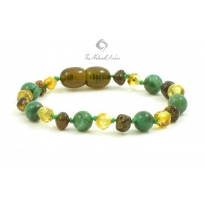 S17 Amber and African Jade Mix Bracelets for Baby